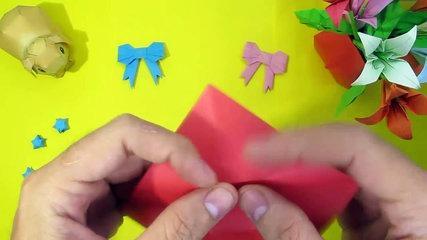 DIY bow | how to make origami bow tutorial easy step by step | hướng dẫn cách gấp nơ bằng giấy