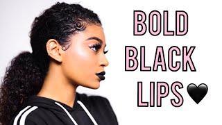 BOLD BLACK LIP MAKEUP TUTORIAL | jasmeannnn