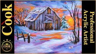 Winter Sunset at the Barn an Easy Acrylic Painting Tutorial for Beginners or Experienced Artists