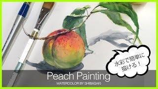 [ Eng sub ] Peach Watercolor Painting Easy Tutorial 水彩で桃を簡単に描くコツ 初心者講座