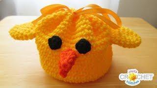Baby Chick Drawstring Bag Tutorial - Happy Spring Crochet!