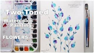 Two-Toned Painting Hack Watercolor Flowers Tutorial for Beginners ♡ Maremi's Small Art ♡