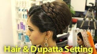 Indian, Pakistani, Asian Bridal Hair Style   Tikka&Dupatta Setting Tutorial   Wedding Hairstyles