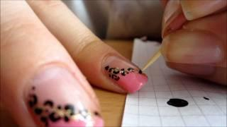 Pink Diagonal French Manicure  With Leopard Print Tutorial
