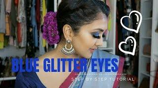 Blue Glitter Eyes for Diwali | Step by Step Tutorial | Vithya Hair and Makeup Artist