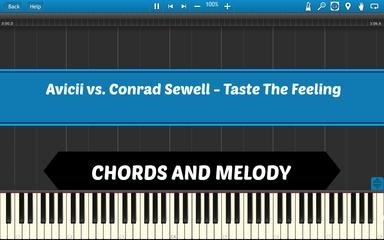 Taste The Feeling - Piano Tutorial in Synthesia - How To Play - Chords and Melody