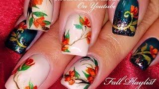 Thanksgiving Nails!   DIY Fall Flower Nail Art Design Tutorial