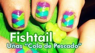 Easy Fishtail Nail Tutorial (Spanish) / Tutorial De Uñas