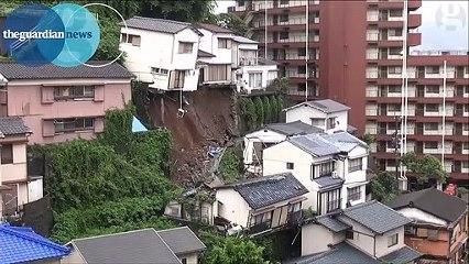 Une maison avalée par un glissement de terrain au Japon
