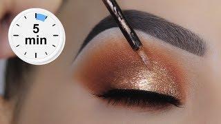 EASY 5 MINUTE Bronze Eye Makeup Tutorial