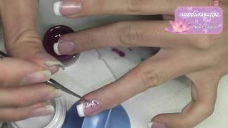 Tutorial - French Inversa E Nail Art Bianca Con Riga Glitter Strass E Fiore Strisciato