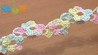 Crochet Lace Cord 5-Petal Flower Along Tutorial 15 Crochet Around Post
