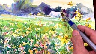 [Eng sub] Spring meadow landscape | Watercolor Painting  Easy Tutorial