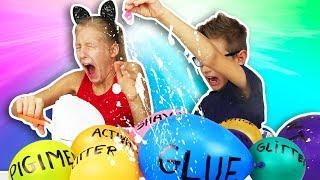 MAKING SLIME WITH BALLOONS!!!!!! SLIME BALLOON TUTORIAL!!!
