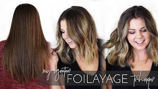 Foilayage Hair Technique - How to Balayage Brunette Virgin Hair | Tutorial on Sierra Schlutzzie
