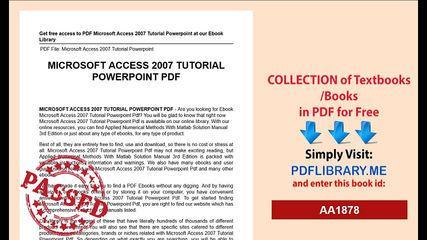 Microsoft Access 2007 Tutorial Powerpoint