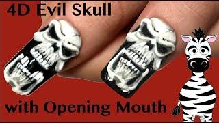 4D Evil Skull with Opening Mouth Acrylic Nail Art Tutorial | Halloween