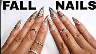 Fall Acrylic Stiletto Nails Tutorial ! 2018