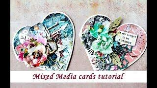Mixed Media cards - tutorial by Ola Khomenok