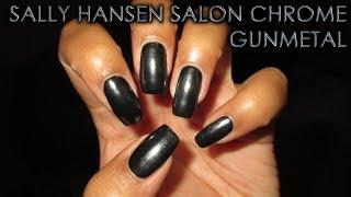 Sally Hansen Salon Chrome Gunmetal | DIY Nail Art Tutorial