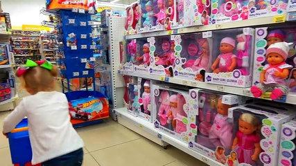 Shopping with Funny baby born doll and play hide animals