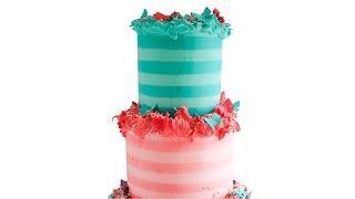 SUPER CUTE Striped buttercream CAKE tutorial- Rosie's Dessert Spot