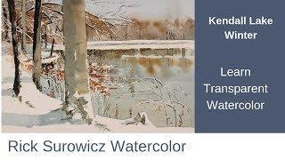 """Watercolor Tutorial, """"Kendall Lake Winter""""  Transparent Watercolor Narrated Tutorial"""