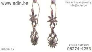 Georgian Diamonds Dangle Earrings Silver French Wire. (Adin Reference: 08274-4253)