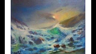 Art Lesson. Seascape Oil Speed Painting. Painting Tutorials. Russian Painting. By Sergey Gusev.