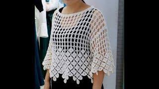 """crochet tutorial blusa facil  """"Marbella"""" todas las tallas"""