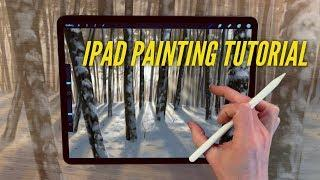 IPAD PAINTING TUTORIAL - Snowy trees landscape art in Procreate