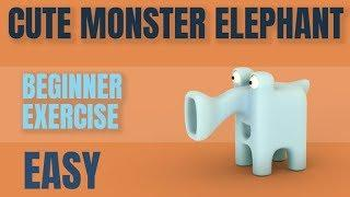 Create a Cute 3D Monster Elephant | 2.8 Beginners Tutorial | Easy