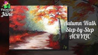 Autumn Walk - Step by Step Acrylic Painting Tutorial