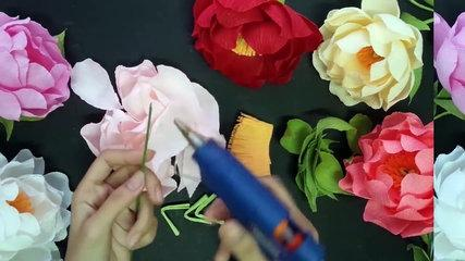 Peony with crepe paper - Craft Tutorial