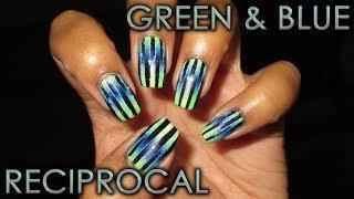 Green & Blue Reciprocal Gradient | DIY Nail Art Tutorial