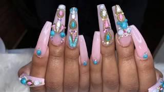 Acrylic Nails Tutorial | Long Pink Bling Nails