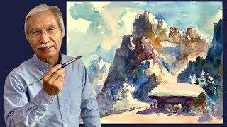 [Eng sub] Snow Mountain Watercolor Painting Easy Tutorial