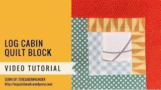 Log cabin block - Mysteries Down Under quilt - video tutorial