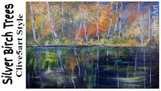 Silver Birch Trees Painting Tutorial In Acrylic