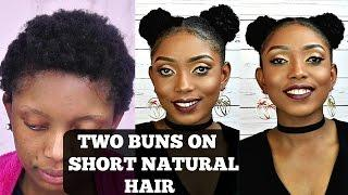 How To Two Buns Tutorial On Short Natural Hair