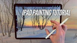 IPAD PAINTING TUTORIAL - Snow landscape art in procreate