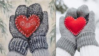 Winter Mittens w/ Heart Christmas Ornament Acrylic Painting LIVE Tutorial