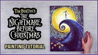 Acrylic Painting on a Canvas Tutorial for Halloween   The Nightmare Before Christmas x Van Gogh
