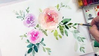 Easy Watercolor Flowers Tutorial - Relaxing Demonstration