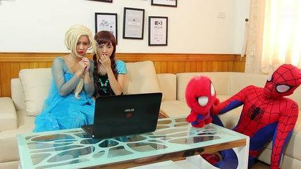 Spiderman, Frozen Elsa and Anna vs GHOST! Funny Superheroes in Real Life Prank ^_^-dZt0YJT_vTs