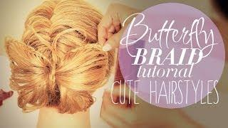 ★ BUTTERFLY BRAID BUN TUTORIAL PT2 |  CUTE HAIRSTYLES FOR MEDIUM LONG HAIR FRENCH FISHTAIL Peinados