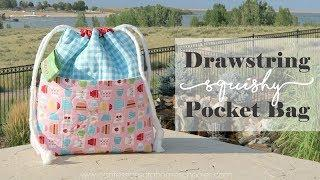 Drawstring Squishy Bag with Pocket Tutorial