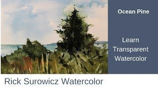 """Watercolor Tutorial, """"Ocean Pine""""  Transparent Wateercolor Narrated Tutorial"""