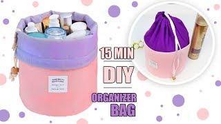 DIY ORGANIZER STORAGE BEAUTY BAG OT OF CARDBOX // Travel Makeup Bag Tutorial
