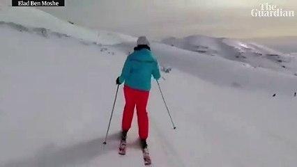 Un snowboarder filme l'interception Israélienne d'un missile Syrien